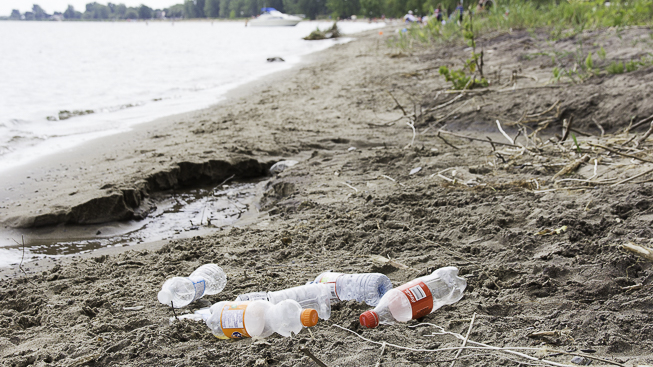 Plastic pollution found at Turkey Point on Lake Erie. Photo credit: Cristina Bergman