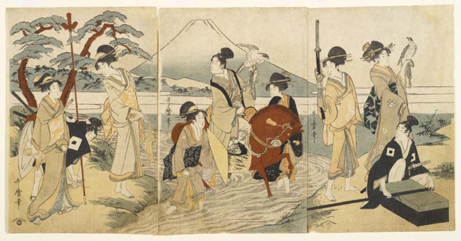 Hawking Party In Front Of Mount Fuji Kitagawa Utamaro 1754 1806 Paper Oban Triptych Format Woodblock Printed With Seven Colours Japan Edo Period