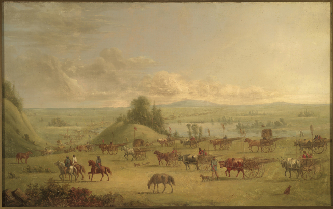 An oil painting by Paul Kane depiciting Plains Métis travelling