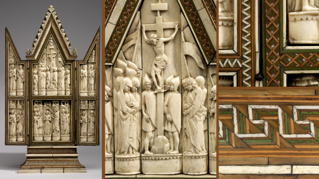 15th century European ivory hinged triptych with Crucifixion and Baptism scene