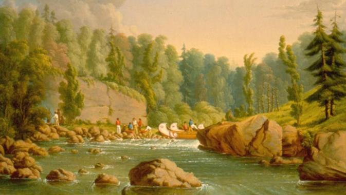 Rapides de la rivière des Français de Paul Kane, 1849-1856. Huile sur toile. ROM 912.1.2; don de sir Edmund Osler