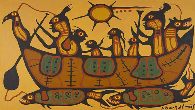 """Migration"" by Norval Morrisseau, Anishnawbek, 1973   © Royal Ontario Museum"