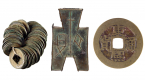 Wuzhu coins of the Han Dynasty, 206 BC – AD 220 (926.9.25.1.1-.40.3), Spade-shape coin of the Eastern Zhou Dynasty, 771 - 221 BC (926.9.6.1.6.2), Kangxi Tongbao coin of the Qing Dynasty, AD 1644 - 1911 (926.9.216.3.1)