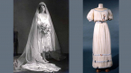 1926 silk satin and lace wedding dress worn in Toronto by Mrs Ruth Bernice Burnham nee Ratcliff. Made by Martha located at 65 Bloor Street West, a leading Toronto couturier at the time. Gift of Dorothy de Haas. ROM 996.115.1.1-4. Jeanne Lanvin silk crepe evening dress, worn by donor for her wedding in 1913. Purchased at Eaton's College Street in Toronto. Gift of Mrs John MacIntosh Duff. ROM 965.53.1