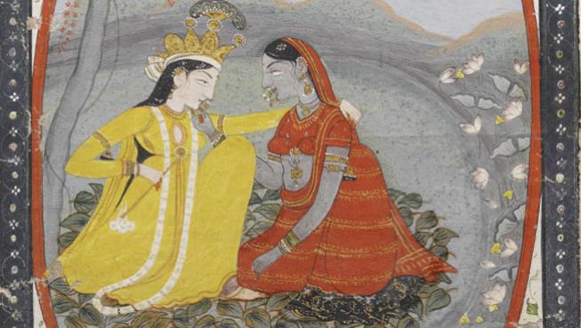 Miniature painting of Radha Krishna, Mughal period, India, 18th century