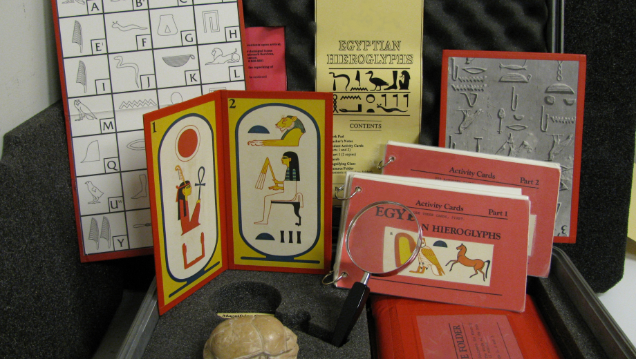 Inside the Egyptian Hieroglyphs EduKit, available for schools to rent.