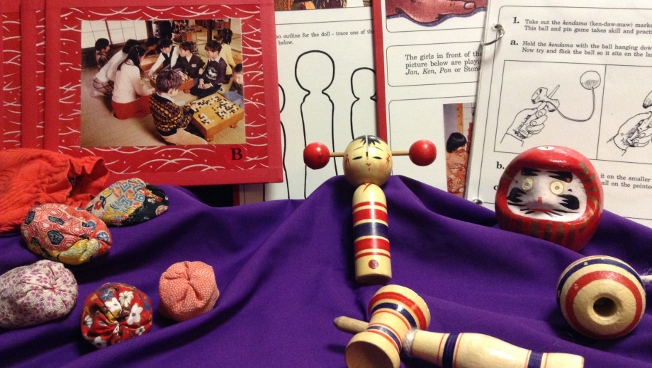 SOme of the objects from inside the Japan: Toys & Games EduKit