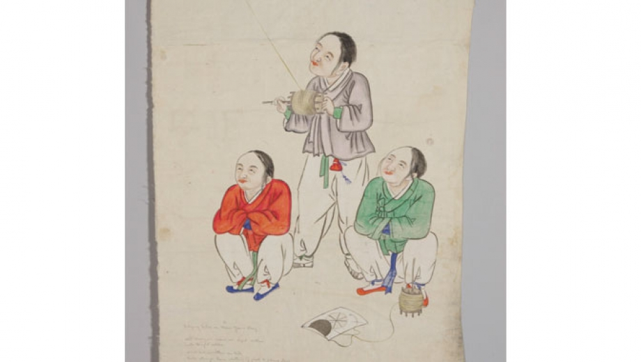 Painting, Flying Kites on New Year's Day (ink and colour on paper), attributed to Gisan (Him Jun-geun), Korea, 1885-1910.