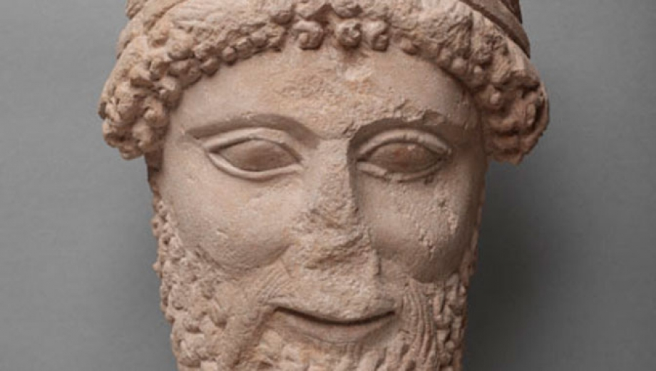 Detail of Cypriot limestone sculpture of head, dating to 5th century BC.