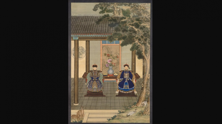 Portrait of a nobleman with his consort by an anonymous painter