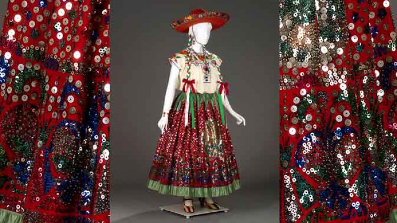 "Acquired in 1932, this ensemble, a ""china poblana"", features a skirt dazzlingly embellished with sequins, displaying the national symbols of Mexico."