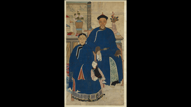 Unidentified  artist,  Ancestor  Portrait  of  a  Couple. Qing  dynasty,  1644–1911  Hanging  scroll,  ink  and  colour  on paper,  138.4  ×  77.5 cm, ROM, 2018.46.1, Gift of Dr. Vivienne Poy