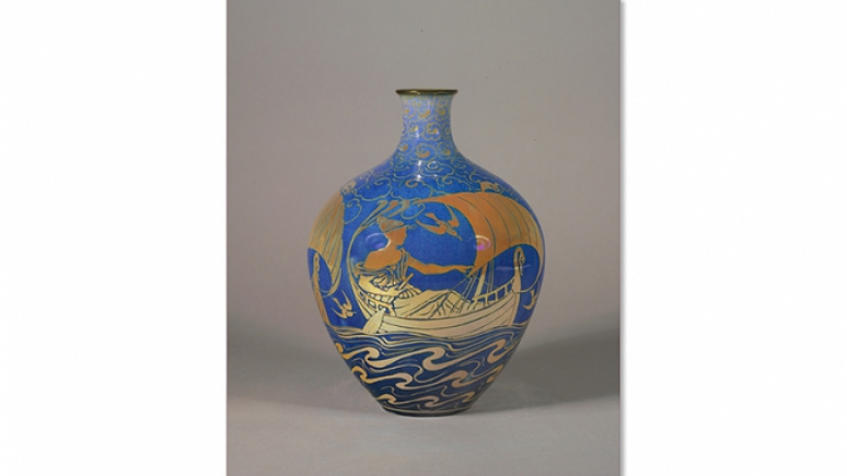 Blue vase with yellow and amber detail depicting a nautical narrative.
