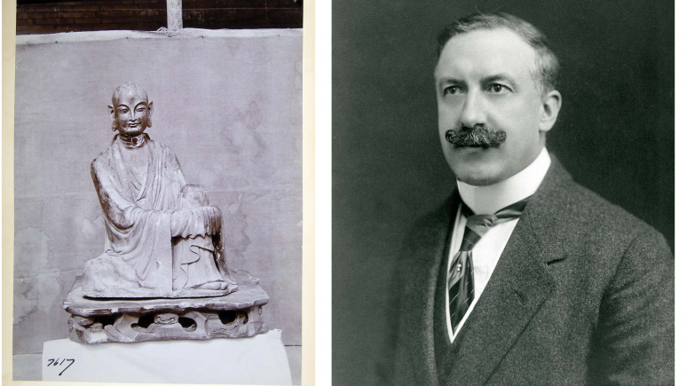 George Croft Collector of Chinese Antiquities & ROM Donor with original photo of Luohan Figure