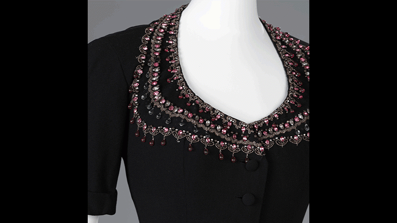 Chandernagor three piece dancing dress (detail). Wool crepe, embroidery by Hurel. Christian Dior Paris, Automne 1947. 2002. Textile Endowment Fund.