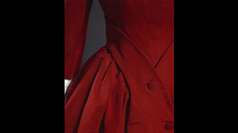 Zemire cocktail dress (detail). Silk faille. Christian Dior, Paris, Automne-Hiver 1955. Ligne Y. Gift of Mrs. Anne Gardiner.