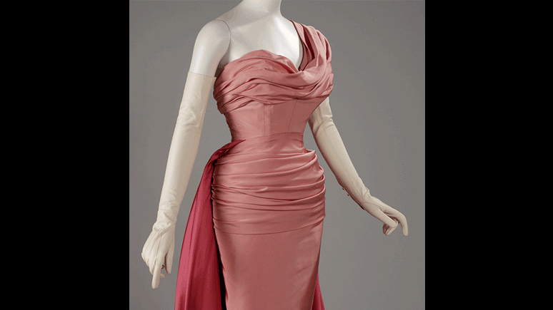 Nocturne evening dress (detail). Silk satin. Christian Dior, Paris, Automne 1947. Gift of Mrs. Kenneth Laidlaw Campbell.