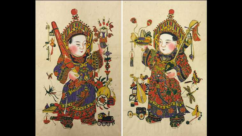 Enjoy Music (happiness) Together, Republic of China (1912-1949), Yangliuqing, Tianjin. Woodblock print, ink and colours on paper. Each size: 53 x 29.6 cm, ROM, 969.168.32, 969.168.33