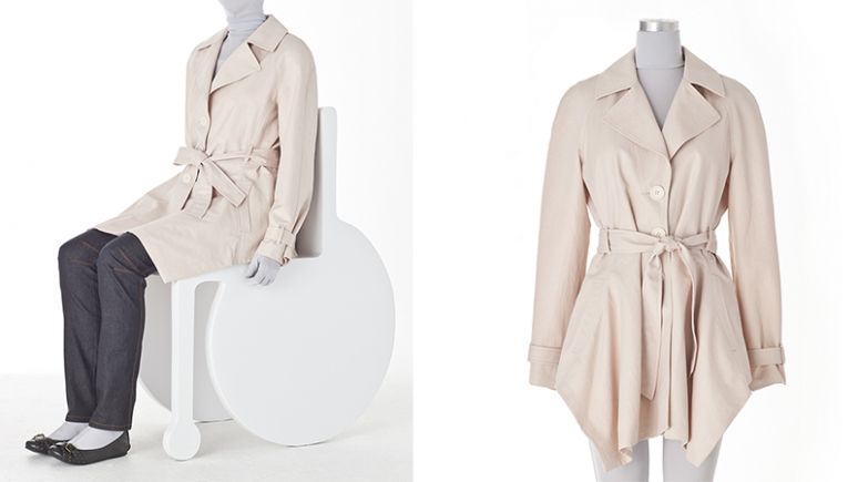 Two images of a trench coat on a seated mannequin