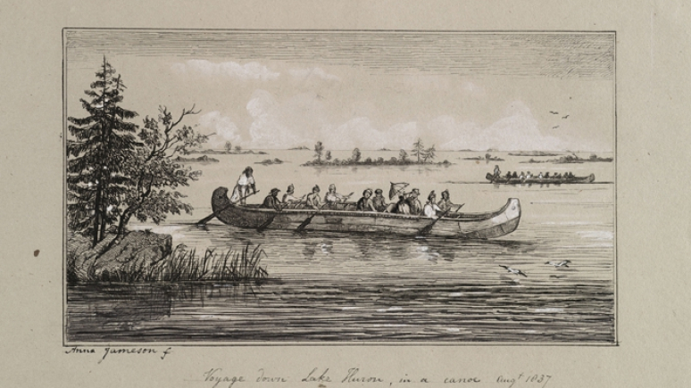 Etching of a voyage down Lake Huron in a canoe