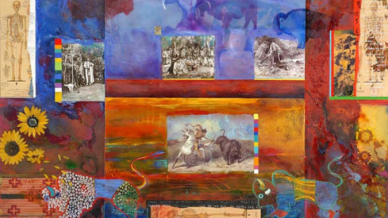 Image: Jane Ash Poitras, Buffalo Seed. Mixed media, oil on canvas, 2004.
