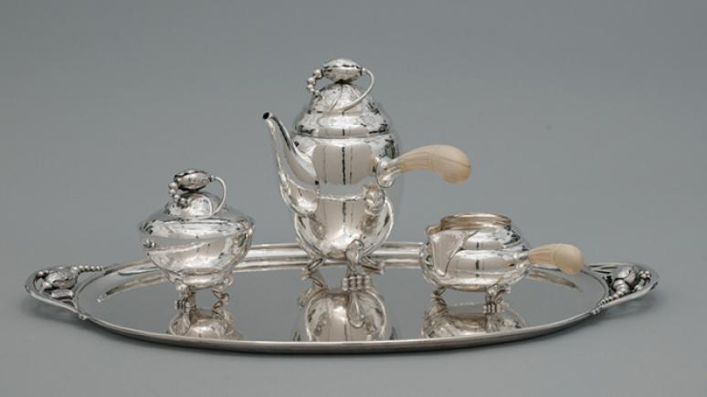 Silver serving set.