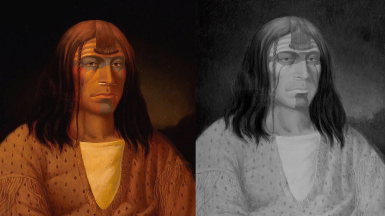 Diptych showing the painting as seen by the human eye on the left, and with an infrared camera on the right..