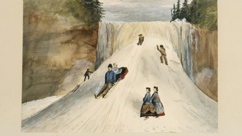 A chromolithograph print of a group of tobogganers