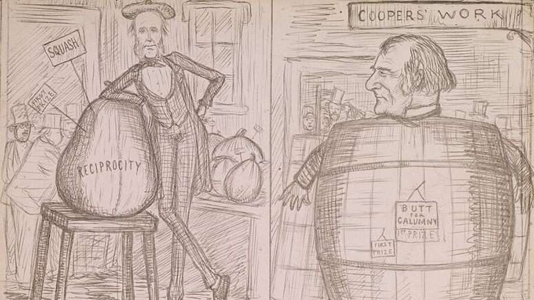"Cartoon of one man inside of a barrel, and another man leaning on a bag that reads ""Reciprocity."""