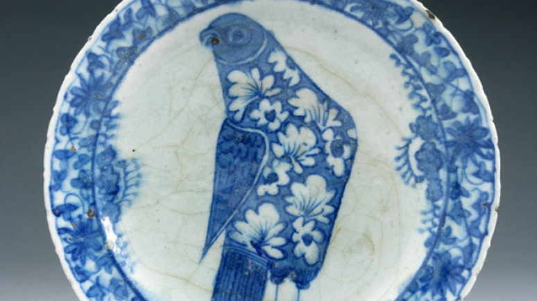 Persian Plate: This ceramic plate features a motif uncommon on Persian Blue and White ware — a single large bird covered with floral ornament in reserve. Currelly most probably came across the piece in Cairo during the winter of 1907-1908, when hunting for Islamic artifacts with his colleague Mr. G.D. Hornblower. 908x25.53