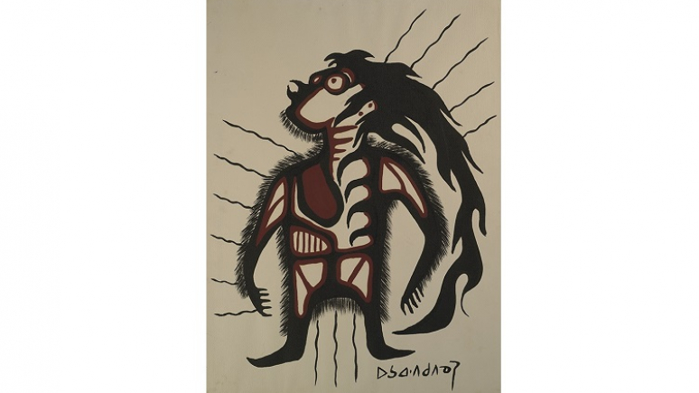Painting on paper by Norval Morrisseau, 1974. Gift of the Members' Committee.
