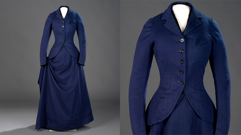 This beautifully tailored habit, made from fine wool has a matching pair of fitted trousers that were never intended to be seen. The perfectly fitted waistcoat with contrasting velvet collar is padded and boned for warmth and fit. The snug jacket is lined with cotton for comfort. The complicated sidesaddle skirt wraps and drapes elegantly around the lower body when standing. It is opened up when in the saddle and cut with curved seams to accommodate the knees and buttocks.