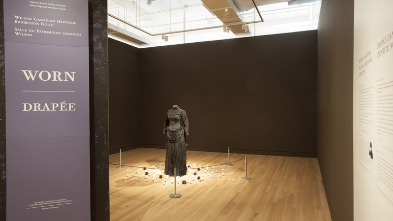 View of site specific installation Worn: Shaping Black Feminine Identity by Karin Jones in the Wilson Canadian Heritage Exhibition Room