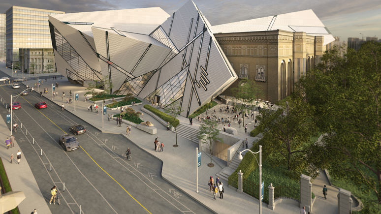 Aerial rendering of the redesigned museum Crystal entrance