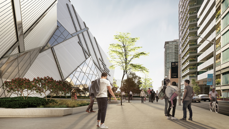 West-looking rendering of the sidewalk in front of the ROM Crystal, with trees and a garden