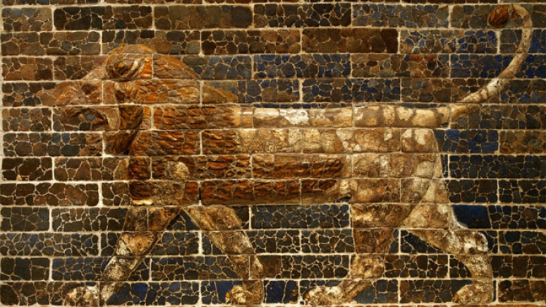 Striding Lion, Southern Citadel throne room facade, Babylon. c. 750-539 BCE. © Royal Ontario Museum.