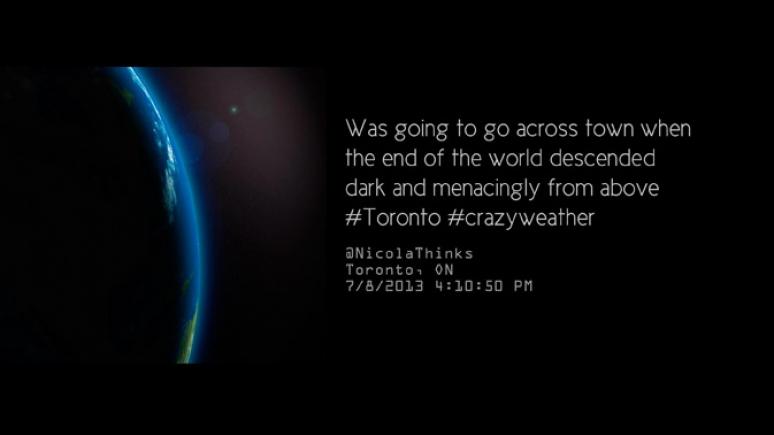 Nouveau projet de Sharon Switzer, #crazyweather : une vidéo numérique pour laquelle elle a recueilli, sur deux ans, des gazouillis où les habitants de divers pays se plaignent de conditions météorologiques extrêmes, 2013 © Sharon Switzer