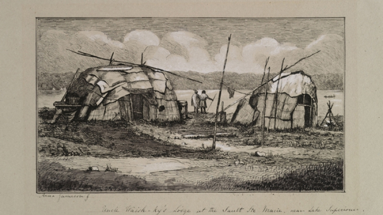 Etching of Uncle Waish-ky's Lodge at Sault Ste Marie