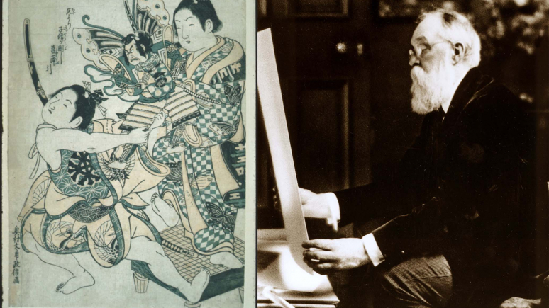 Sir Edmund Walker President of CIBC, First Chairman of the Board of Directors, and ROM Donor with an Ukiyo-e print of two boys fighting over a doll