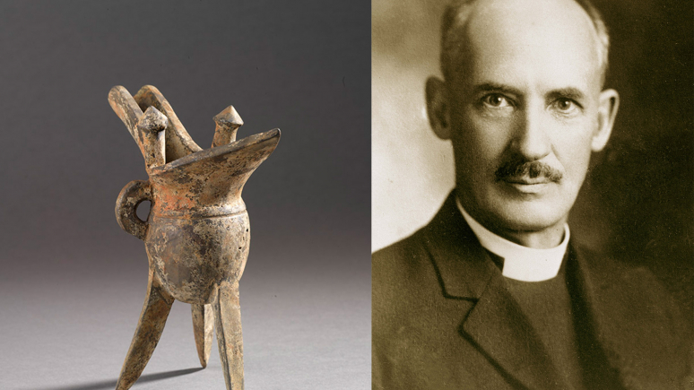 Bishop William White, Collector and scholar of Chinese artifacts and ROM Donor with a Tripod jue vessel from the Shang Dynasty