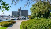 Les Jardins de la musique et les silos de Canada Maltings. Photo : Paul Vaculik.