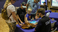 Visitors interact with museum volunteers and various specimens