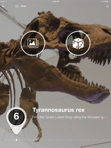 tour text superimposed over a photo of T. rex