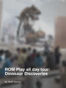 a photo of students in front of a dinosaur with the tour title superimposed overtop
