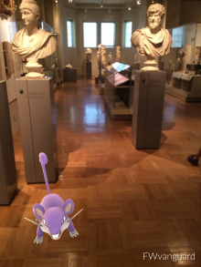 a cartoon mouse inside the gallery of Rome