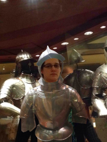 a woman dressed in a virtual suit of armour