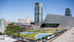A wide view of the ROM Green Roof, facing North to the structure of the Crystal