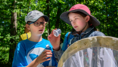 Two young girls peer into a jar at the insect they just captured with a net during a bioblitz. Photo by David Coulson