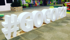 #COP21 logo in the public access area for the 2015 UN Paris Climate Change Conference