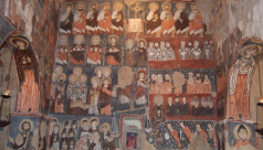 The fresco of the Last Judgement on the West wall of the chapel at Deir Mar Musa.